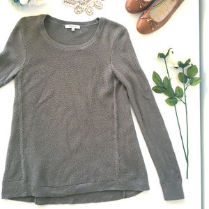 Madewell Riverside Textured Sweater in Olive Green